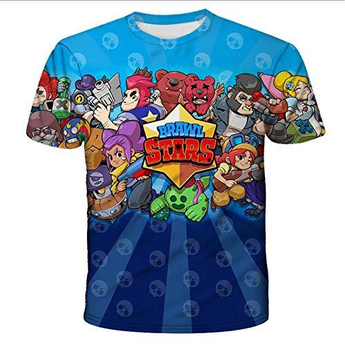 IQDQ Camiseta De Cuello Redondo Brawl Stars De Manga Corta Impresa En 3D Camiseta con Capucha De Media Manga, Adecuada para Niños, Niñas, Niños, Primavera Y Verano,Azul,XXS