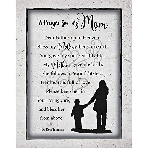 mom plaques Mom Mother Prayer Wood Plaque with Inspiring Quotes 11.75