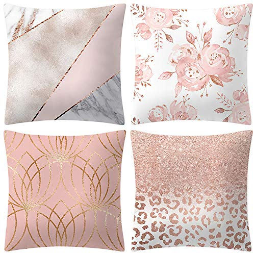 Diadia 4PC Rose Gold Pink Printing Pillow Case Decorative Cushion Cover Home Kids Room Bedroom Living Room Decor Pillowcase for Christmas, Wedding,Birthday, Anniversary (B)