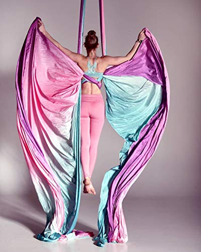 Ombre Aerial Silks Hand Dyed Aerial Fabrics for Aerial Yoga, Aerial Yoga Hammock, Aerial Acrobatic,Circus Arts, Aerial Dance (Fairy Floss Omber)