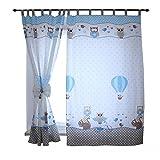 Tuptam cortinas con trabillas para habitación infantil, buhos 2 azul, c. 155x95 cm