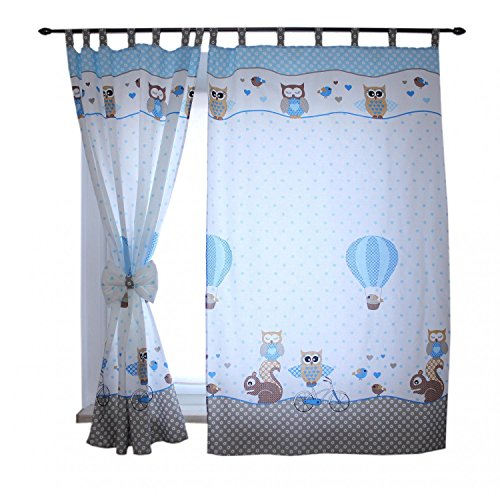 TupTam Kinderzimmer Vorhäng mit Schleifen 2er Set, Farbe: Eulen 2 Blau, Größe: ca. 155x95 cm
