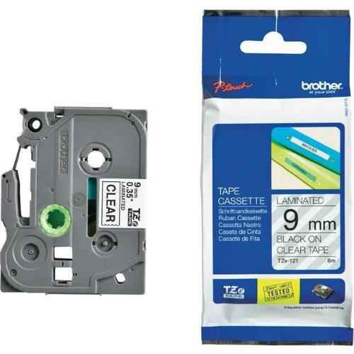 Beschriftungsband für Brother P-Touch TCM edition, Schwarz auf Farblos, 9 mm, laminiert, Schriftband-Kassette für Brother, 9mm breit, 8mtr.