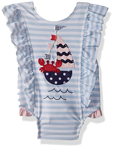 Mud Pie Baby Girls Sailboat Ruffle Striped One Piece Swimsuit, Blue, 3T