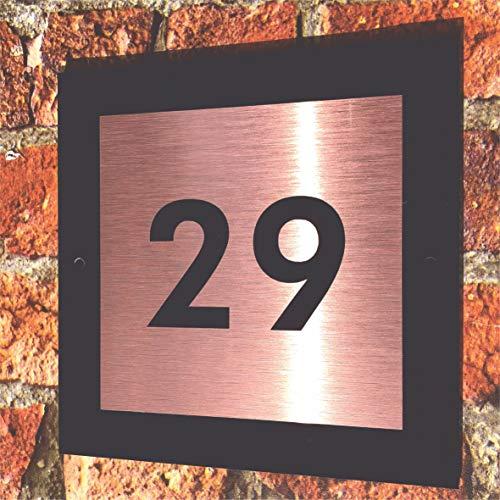 Desconocido Moderno Letrero de casa con Panel Trasero de Aluminio de Oro Rosa y número Negro