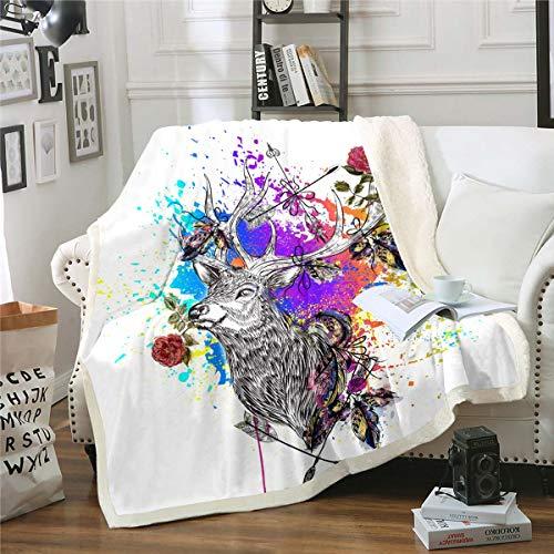 Loussiesd Manta de forro polar de ciervo con diseño de cornamenta, manta de felpa para sofá cama, manta de sherpa, abstracta, colorida, decoración de habitación doble de 152 x 192 cm