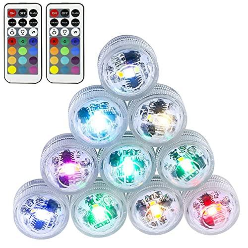 KNMY Unterwasser Licht, 10 Stück LED IP68 Wasserdichtes 16 Farbe Teichbeleuchtung Poolbeleuchtung mit Drahtlos Timer Ferngesteuerten RGB...