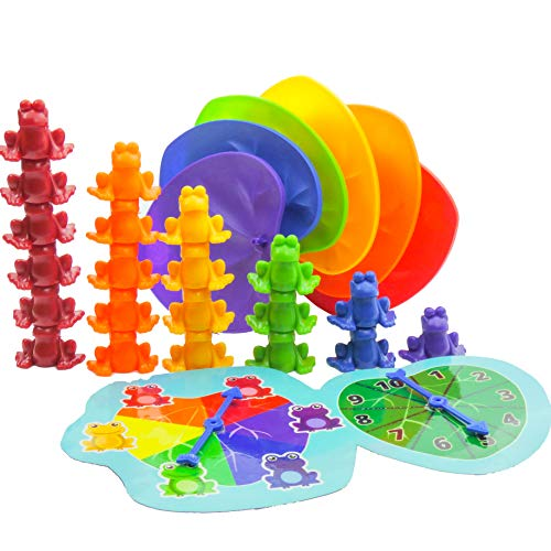 Skoolzy Stacking Frogs Counting Toys. Montessori Toys for Toddlers with Matching Lily Pads and Counters. 68pc Homeschool Educational Toys Math Manipulatives Early Math Skills for Kids Ages 3 4 5 6 7 8