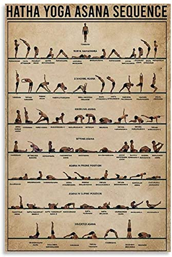 Póster Retro Yoga Poster Hatha Yoga Asana Secuencia Poster Pintura Decorativa Lienzo Arte de la Pared Carteles de Sala de Estar Pintura de dormitorio-50x75CM Sin Marco