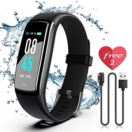 JAZIPO Fitness Armband mit Pulsmesser Blutdruck, Wasserdicht IP68 Fitness Tracker Smartwatch GPS Aktivitätstracker Pulsuhren Blutdruckmesser Vibrationsalarm Anruf SMS für Damen Männer
