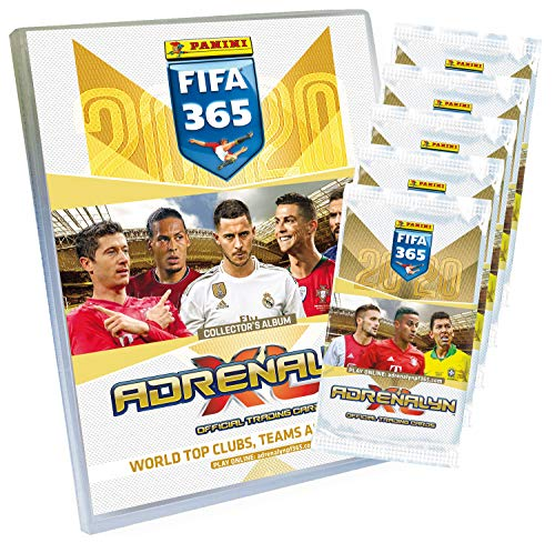 Panini 4408954 Adrenalyn XL Sammelkarten FIFA 365, Saison 2019/2020, Starterset mit Sammelordner, Sammelmagazin, Spielfeld, 30 limitierten Karte, bunt