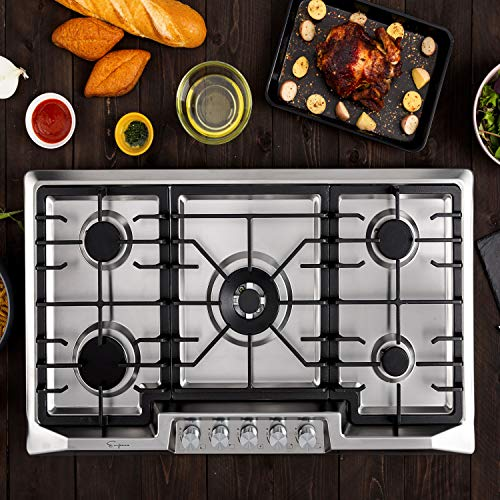 Empava 36 Inch Gas Stove Cooktop 5 Italy Sabaf Sealed Burners NG/LPG Convertible in Stainless Steel