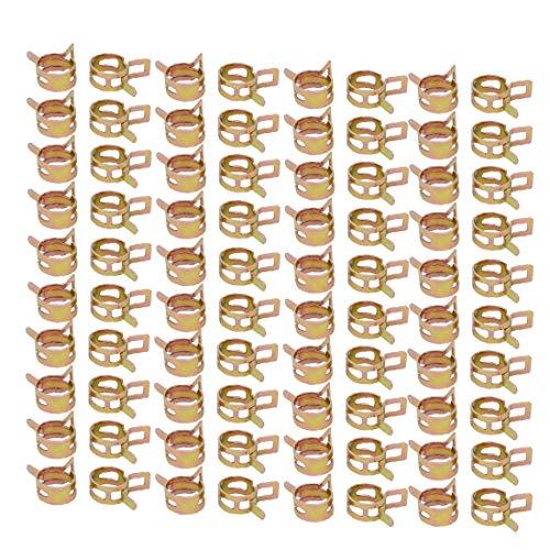 New Lon0167 100 Unids 15 mm Tipo de banda de resorte Acción Manguera de combustible Tubo Abrazadera de aire Tono de bronce(100 Stücke 15mm Federband Typ Aktion Kraftstoffschlauch Rohr Luftklammer Bron