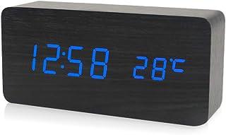 Decdeal Electronic Led Digital Wooden Alarm Clock Time Temperature Date Display Desktop Clock 3 Levels Brightness Voice Co...