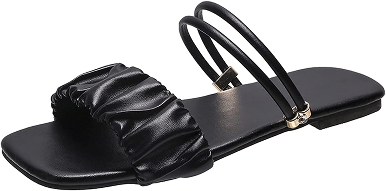 Women's Fashion Flat Bottom Solid Color Square Toe Casual Sandal
