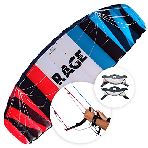 FLEXIFOIL 3.5m² Adults, Older Kids Rage Power Kite Beach Summer Trick Kites, Outside Stunt Toys, Sport Games & Family Activities Professional Four String Line & Quad Handles Easy to Fly…