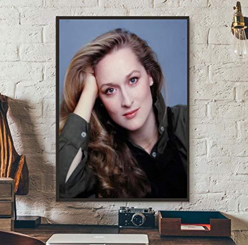 Estrella Meryl Streep Retro |Arte de Mujer Hermosa Obra de Arte decoración de Pared única Pintura Impresa en Lienzo 50x70 cm sin Marco