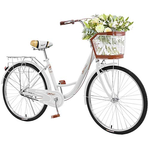 TOUNTLETS 26 Inch Womens Beach Cruiser Bike Unisex Classic Iron Bicycle with Basket Retro Bicycle Unique Art Deco Scooter,Road Bike,Seaside Travel Bicycle,Comfortable Women Commuter Bicycle (White)