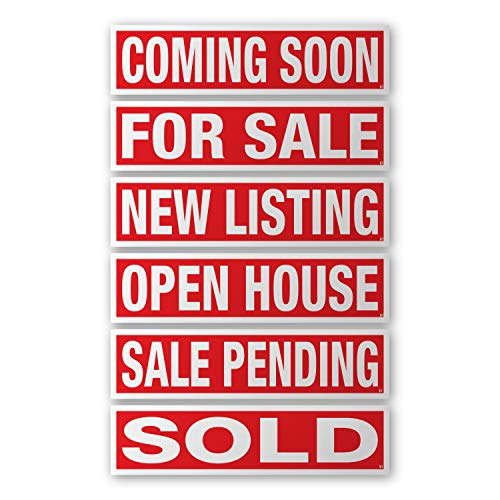 VSE 6 Pack Plastic Sign Riders With Different Messages for Real Estate - Direct Printed 6x24.