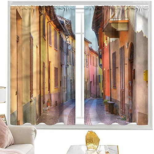 Cortinas & drapes Italia, calles estrechas pavimentadas W52 x L54 pulgadas cortinas opacas