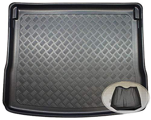 ZentimeX Z3353295 Geriffelte Kofferraumwanne fahrzeugspezifisch + Klett-Organizer (Laderaumwanne, Kofferraummatte)