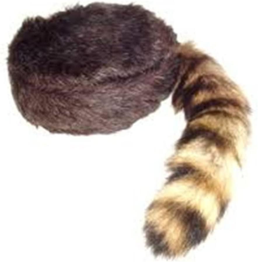Davy Crockett or Daniel Boon Style CoonSkin Hat Cap with Real Racoon Tail Size MEDIUM