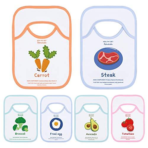 PAPERKIDDO Baberos de bebé, 6PCS Toalla De Saliva Conjunto de baberos de alimentación Aprendizaje de comida Súper absorbente Hombro-regazo lavable Baberos para 6 a 24 meses (31 x 23 cm)