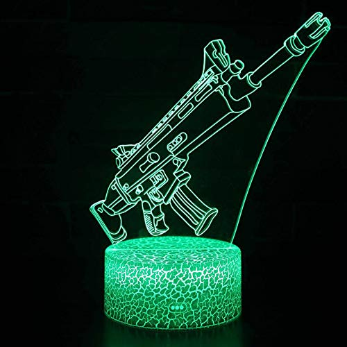 3D LED Table Lamp Night Light Gun Weapon Acrylic Illusion Night Light Shot Game Character Superhero Bedroom Decoration Kids Gift