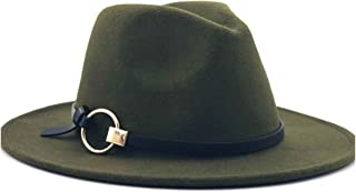 Fashion Sun Hat for Men Women Fashion Fedora Hat Wool Felt Leather with Metal Ring Decorative Hat Jazz Church Godfather Felt Hat Wide-Brimmed Hat Suitable for hot Weather Season