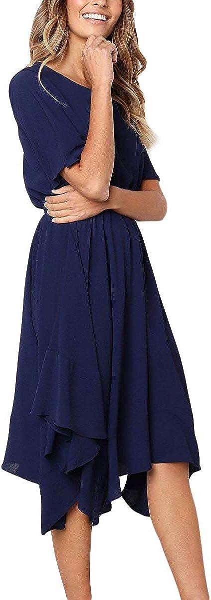 Alaster Women's Chiffon Short Sleeve Casual Midi Dress Irregular Hem Summer Dress