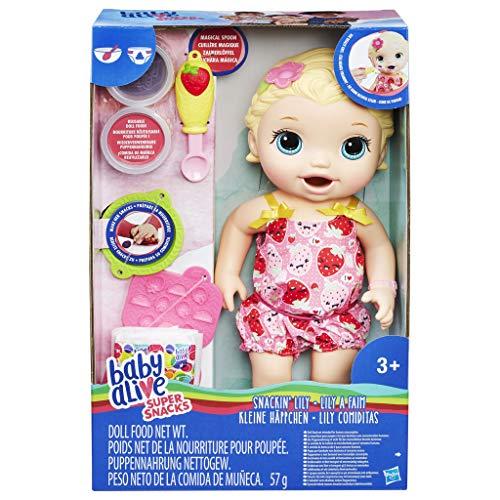 Baby Alive H0632697 Fütterspaß Lily, blondhaarige Babypuppe mit Fütterzubehör, ab 3 Jahren
