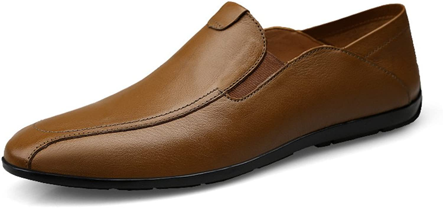 2018 new Men's Personality Loafer Solid color Slip on Soft Moccasins Free Simple shoes (color   Khaki, Size   8 UK)
