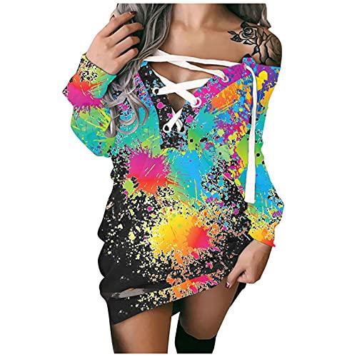 Vestido de mujer con hombros descubiertos, estilo informal, línea A, largo hasta la rodilla, de otoño, manga larga, holgado, mini vestido de cóctel o fiesta floral, 02-multicolor, XL