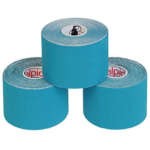 BB Sport 3 Rollen Kinesiologie Tape 5 cm x 5 m E-Book Anwendungsbroschüre Elastisches Tape Set, Farbe:hellblau