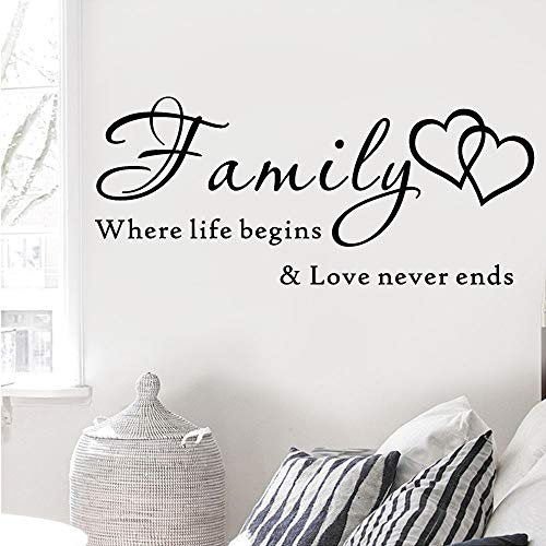 WSYYW Carta de la familia Papel tapiz Pegatinas de pared Familia donde la vida comienza el amor Nunca termina Extraíble Arte Vinilo Mural Home Room Decor rosa suave 65 cm x28 cm