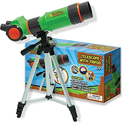 Nature Bound Telescope for Kids and Beginners, 16X Magnification and 15mm Lens for Indoor and Outdoor Use - Adjustable Tripod Included - for Kids Ages 6+, Green (NB538)