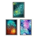 Nacnic Set de Tres láminas Mandalas espaciales. Tamaño A3. Set 2