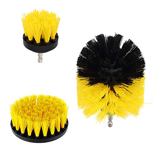 Drill Brushes Attachment kit ,All Purpose Drill Brushes for Cleaning Pool Tile,Flooring ,Bathroom, Grout, Tub, Shower, Kitchen,Corners, Sinks-3pcs,Yellow