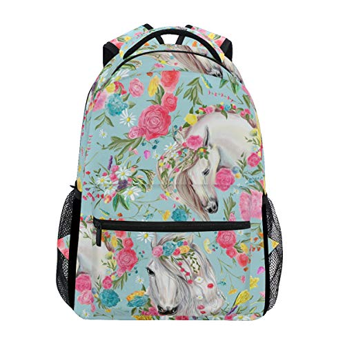 School Backpacks Flower Horse Student Backpack Big For Boys Girls Elementary School Shoulder Bag Bookbag