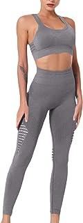 Sematomala Women's Workout Sets 2 Piece Outfits Sports Racerback Bra Skinny Tights Leggings Pants Yoga Set Gym Wear