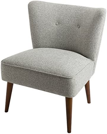 Best Spatial Order Kaufmann Modern Armless Accent Chair Button Tufting, Ash Grey