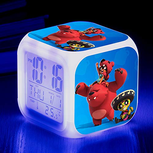 HHIAK666 Anime Supercell Brawl Stars Wilderness Brawl 7 Colores Creativo Reloj Despertador 15