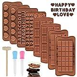 FHzytg 8 Stück Silikon Schokolade Formen, Schokoladenformen für Schokolade, Süßigkeiten, Gelee, Eiswürfel, Schokoladenform aus Silikon Backform Silikon Eiswürfelform Blöcke Kekse Schokoladenform