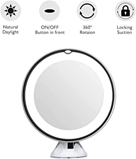 LED Magnifying Makeup Mirror - Lighted Travel Vanity Mirror - Dimmable Light, Battery Operated, Locking Suction, 360 Rotation, Portable & Daylight,10x