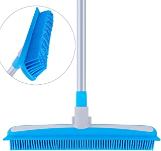 """MR.SIGA Soft Bristle Rubber Broom and Squeegee with Telescopic Handle- 12.4"""" width"""