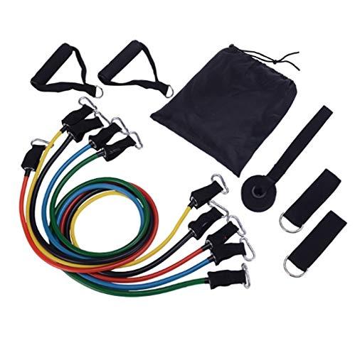 HUO FEI NIAO Widerstandsband Resistance Bands 11 Stück ,Mit 5 Fitnessschläuchen, 4 Schaumstoffgriffen, Knöchelriemen, Türankern, für Krafttraining, Physiotherapie, Heimtraining, leicht zu tragen