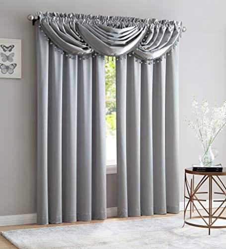"Luxury Home Textiles Bridget 5 Piece Crushed Satin Curtain Set with Beaded Austrian Valances, 84"" Long (Silver)"