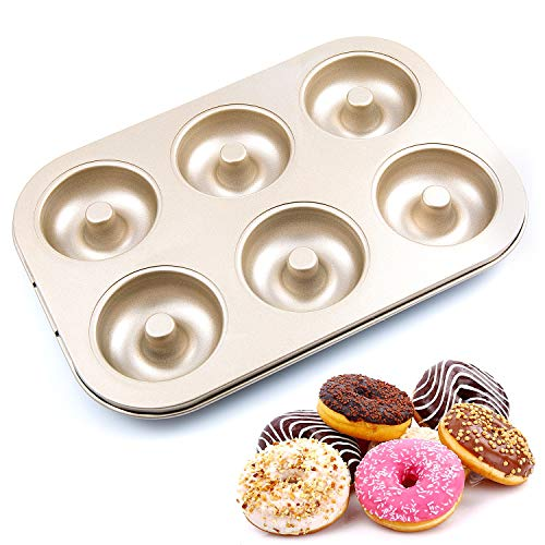 Remebe Donut-Backform, Mini-Donut Backform für 6 Donuts 26.5 x 18.5 x 2.3 cm, Donut- & Bagelform Antihaftbeschichtet Kurze Backzeit frei von PFOA für Gesündere, Selbstgebackene Donuts