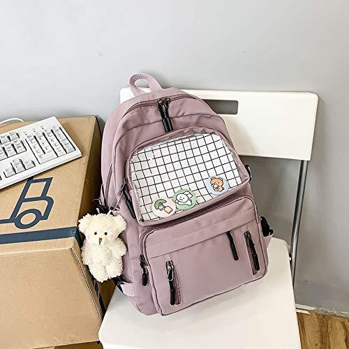 ghn Large Capacity Soft Shopping Bags Female Transparent Preppy Style Backpacks for Teenage Girls High School Students Bags Women Waterproof Kawaii Travel Backpack Girls Cute School Bag Women