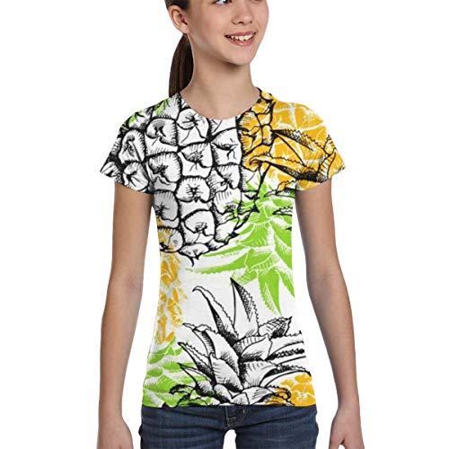 WoodWorths Yellow Pineapple Teenager Junior Girls Short Sleeve T Shirt Tee Colorful Shirts(X-Small,Black)